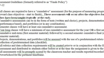 News:  Final exam policy revised for Rock Creek students